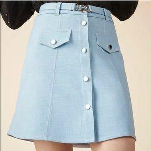 NWT Maje Button blue Skirt with no belt sz 36 US 4